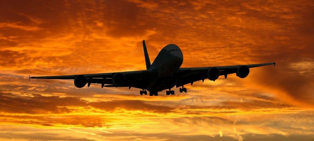 flyver, solnedgang, rejse, danes worldwide