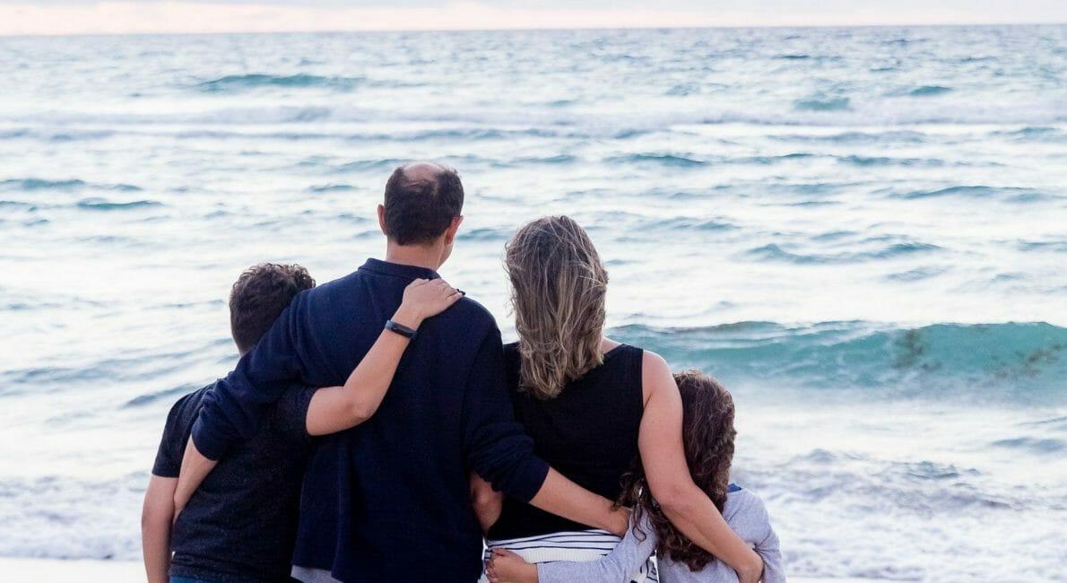Familie på strand